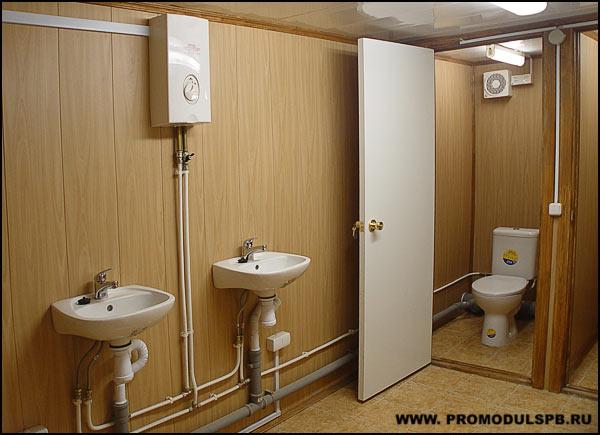 как организовать горячую воду в санитарном блок-контейнере